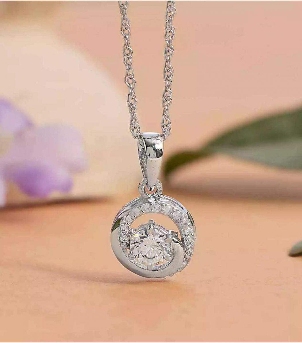 Silver Stone Chain Pendant FJ1648987
