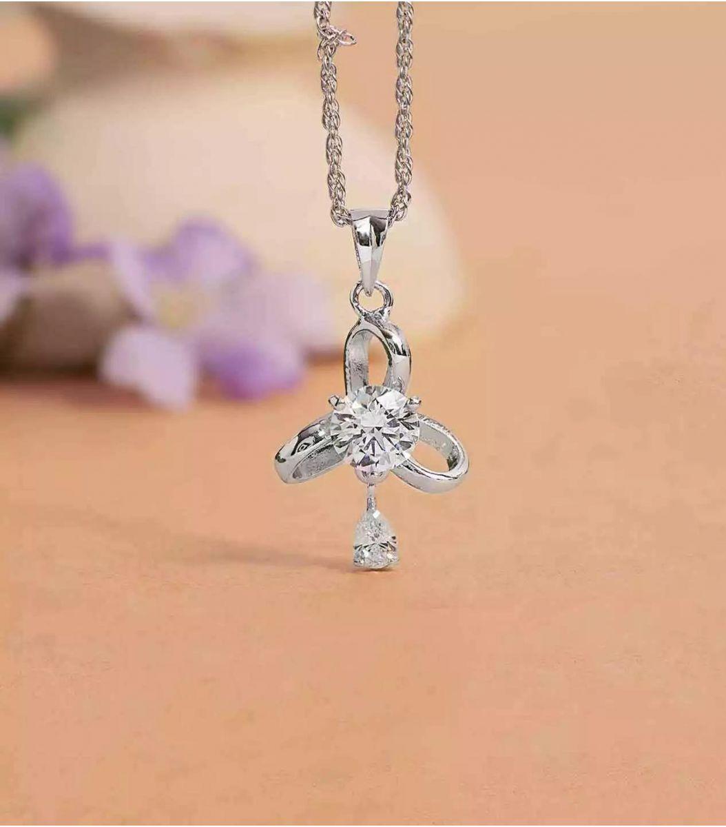 Silver Stone Chain Pendant FJ1649011