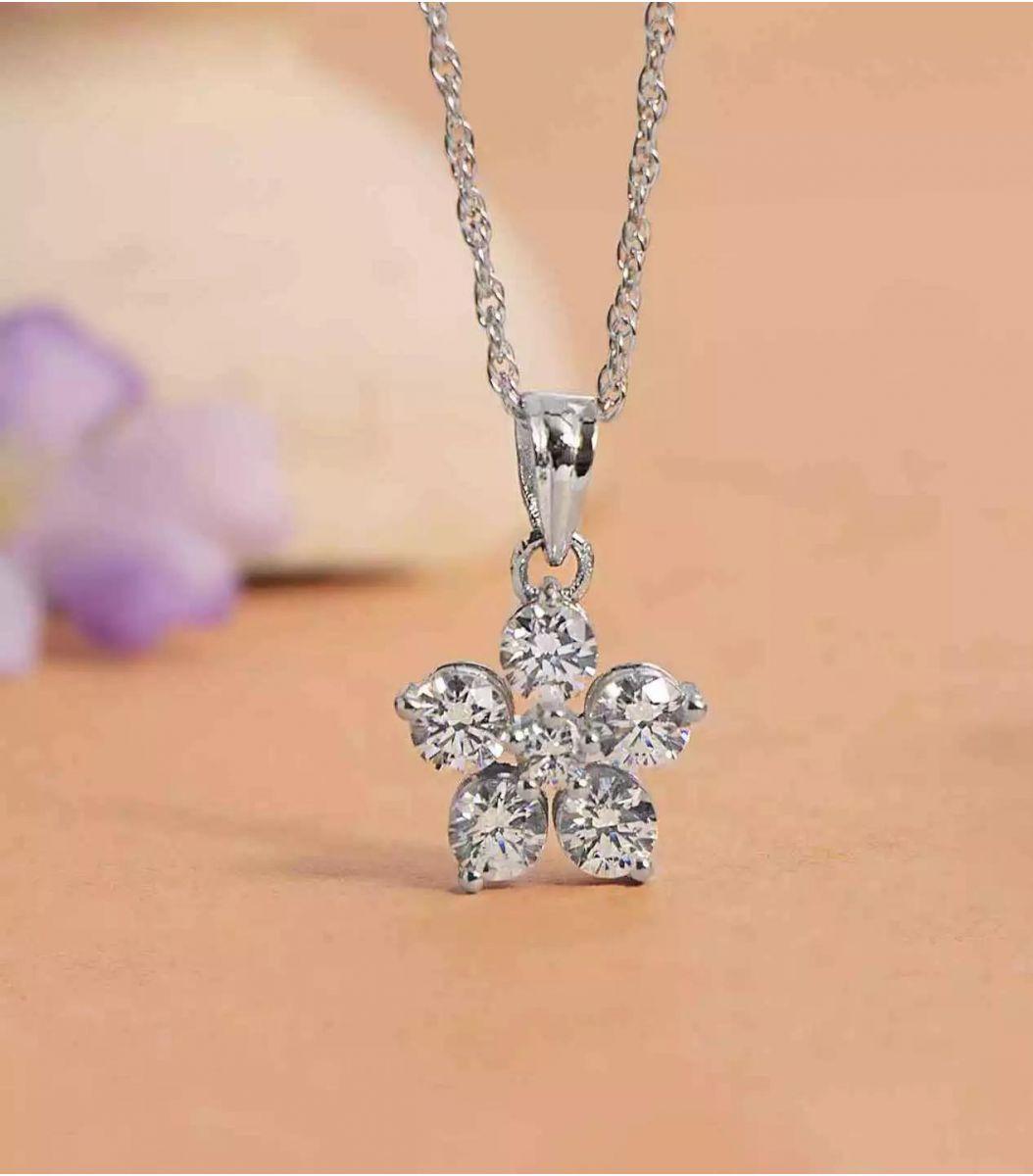 Silver Stone Chain Pendant FJ1649012