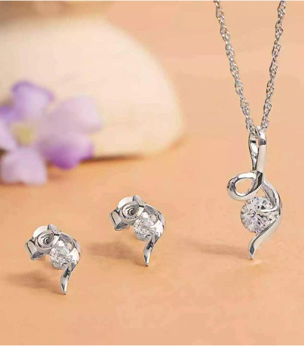 Silver Stone Pendant Set FJ1649055