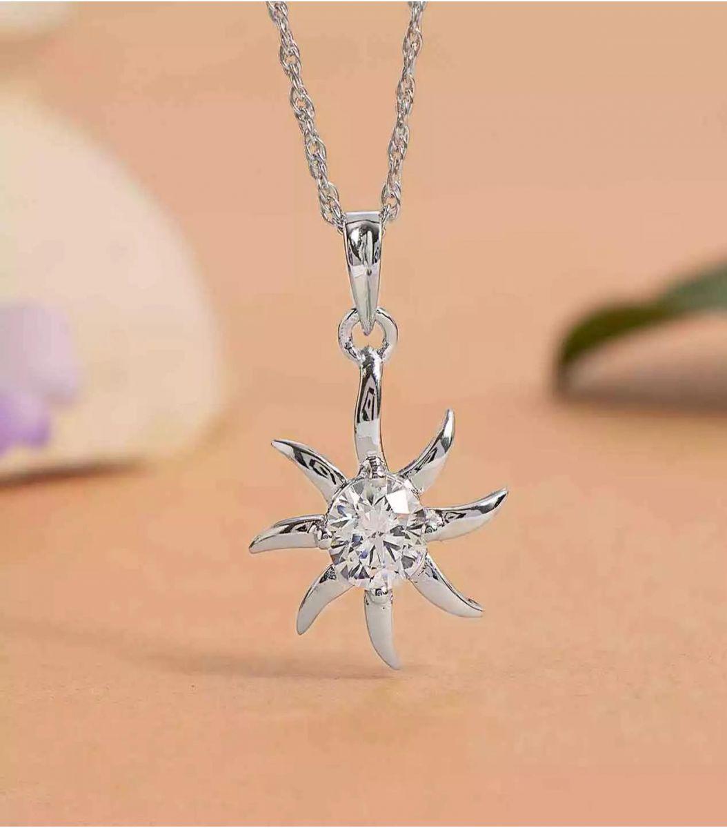 Silver Stone Chain Pendant FJ1660368
