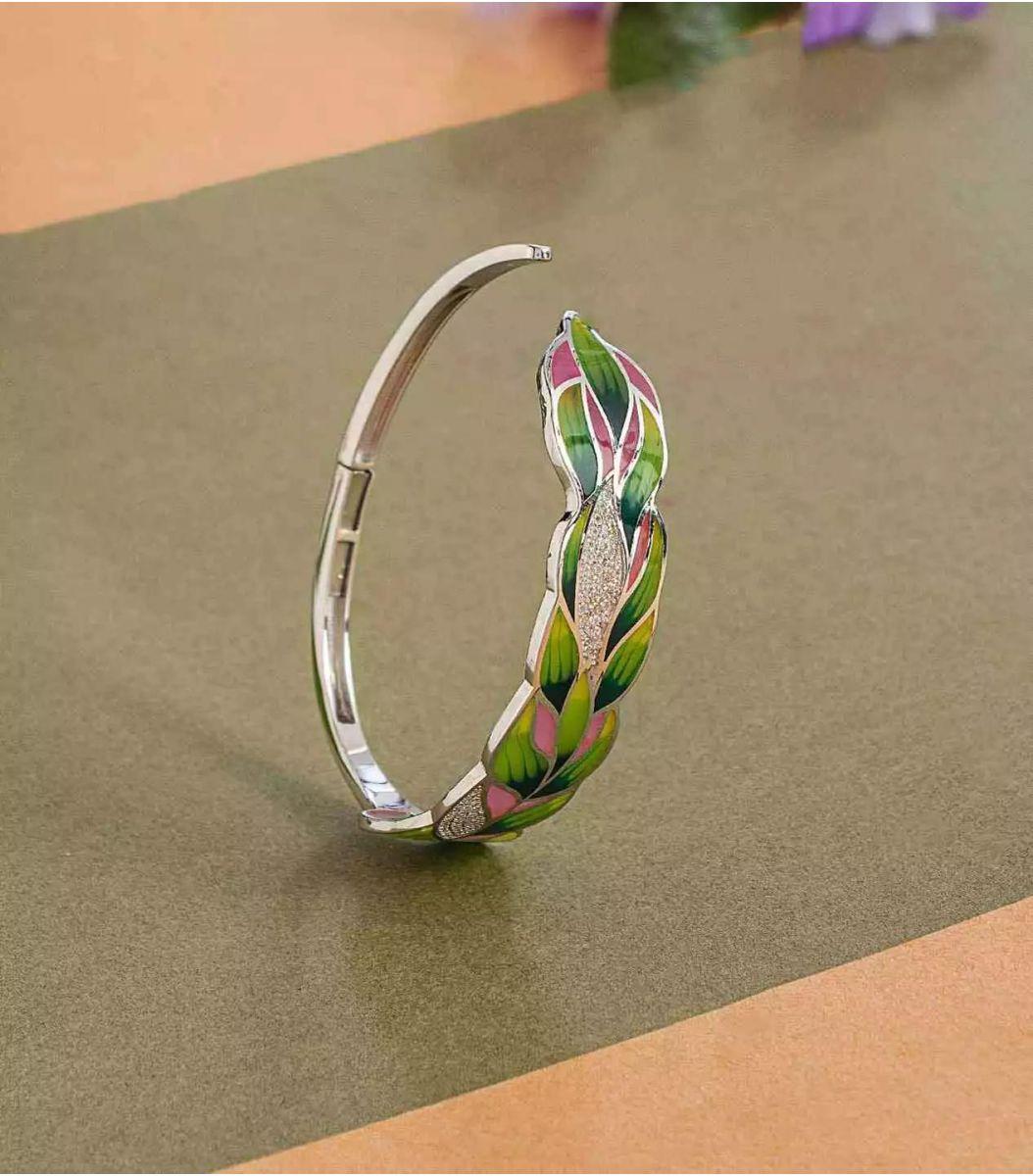 silver enamel bracelet fj1662430