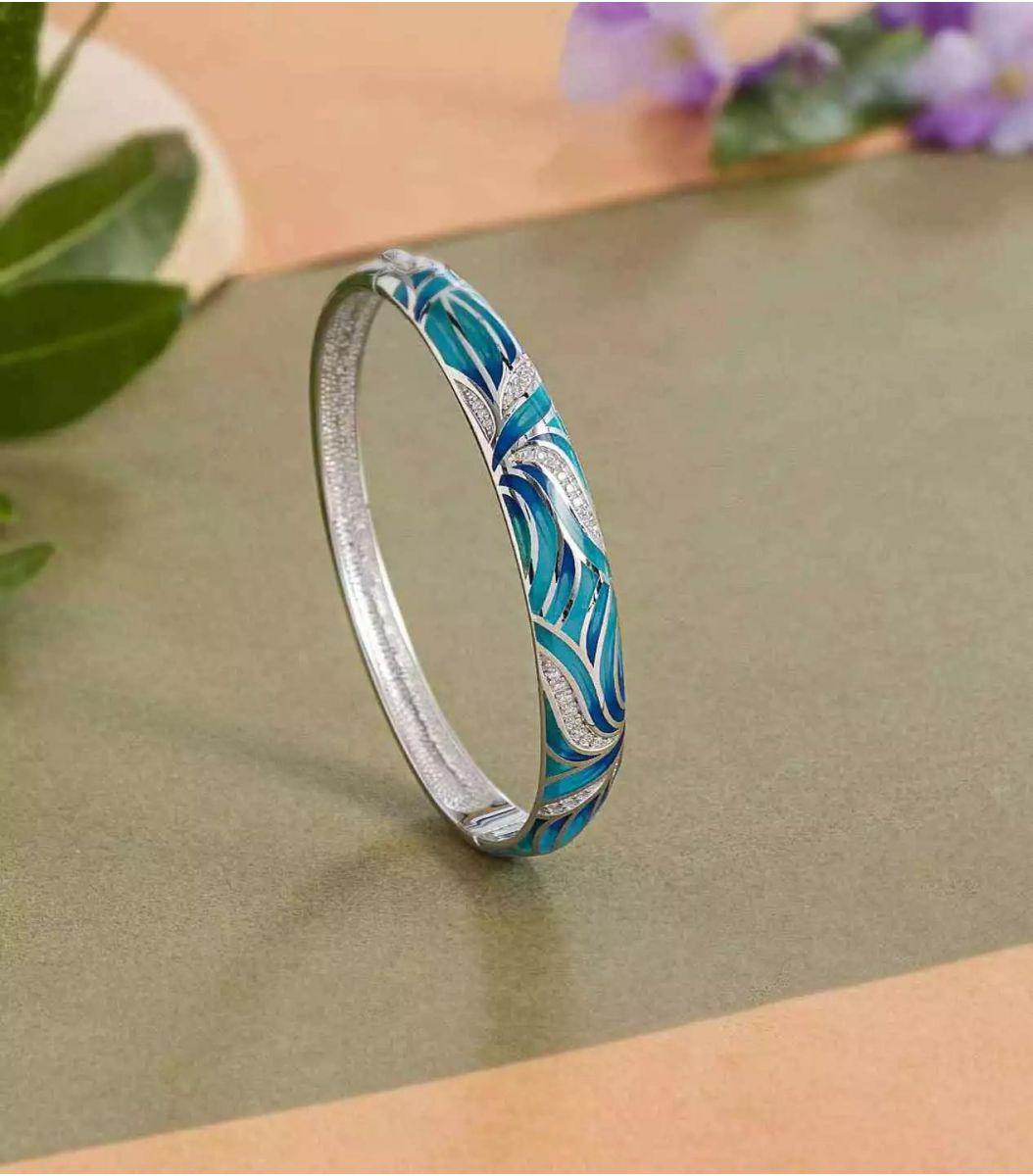 silver enamel bracelet fj1662451