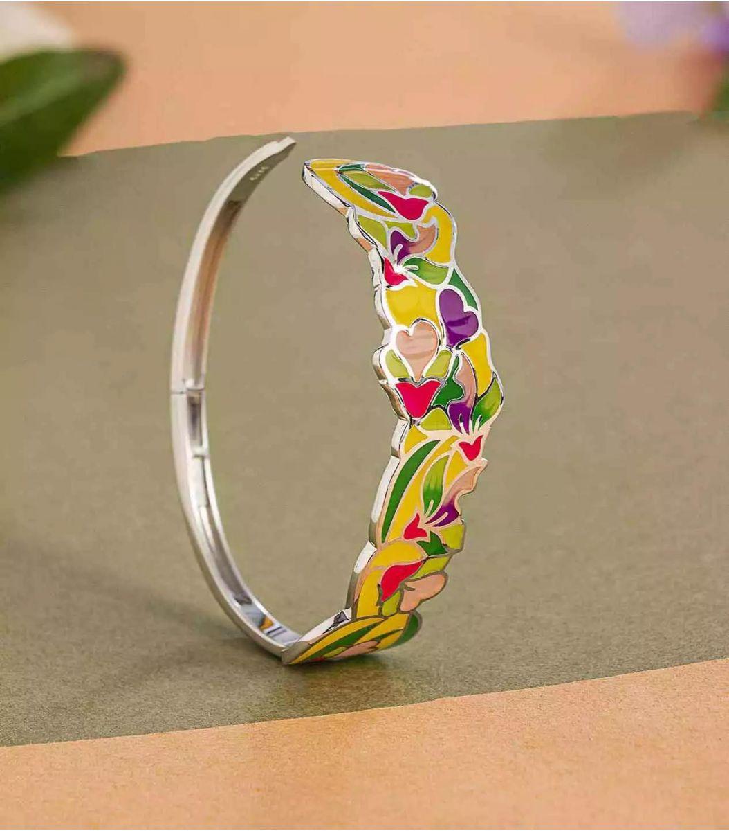 silver enamel bracelet fj1662455