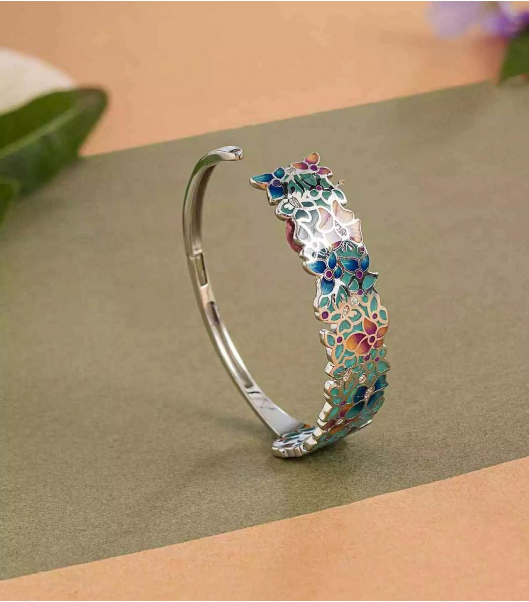 silver enamel bracelet fj1662468