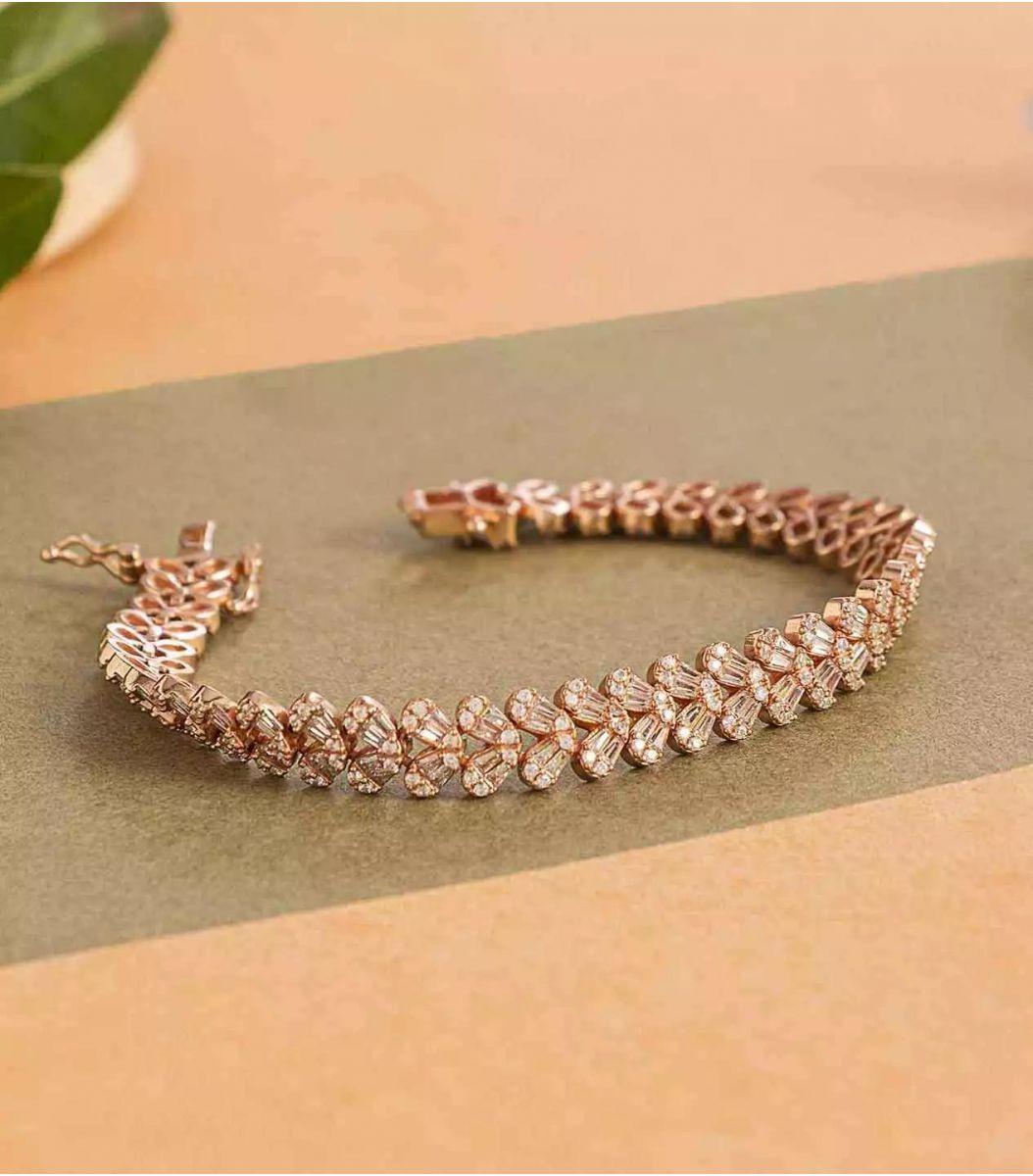 Silver Rose Polish Bracelet-FJ1712125