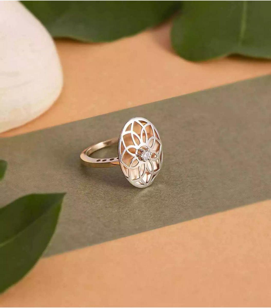Silver Rose Gold Finger Ring FJ1712688
