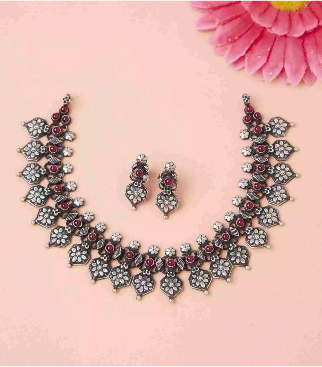 Silver Antique Necklace Set  FJ1736395