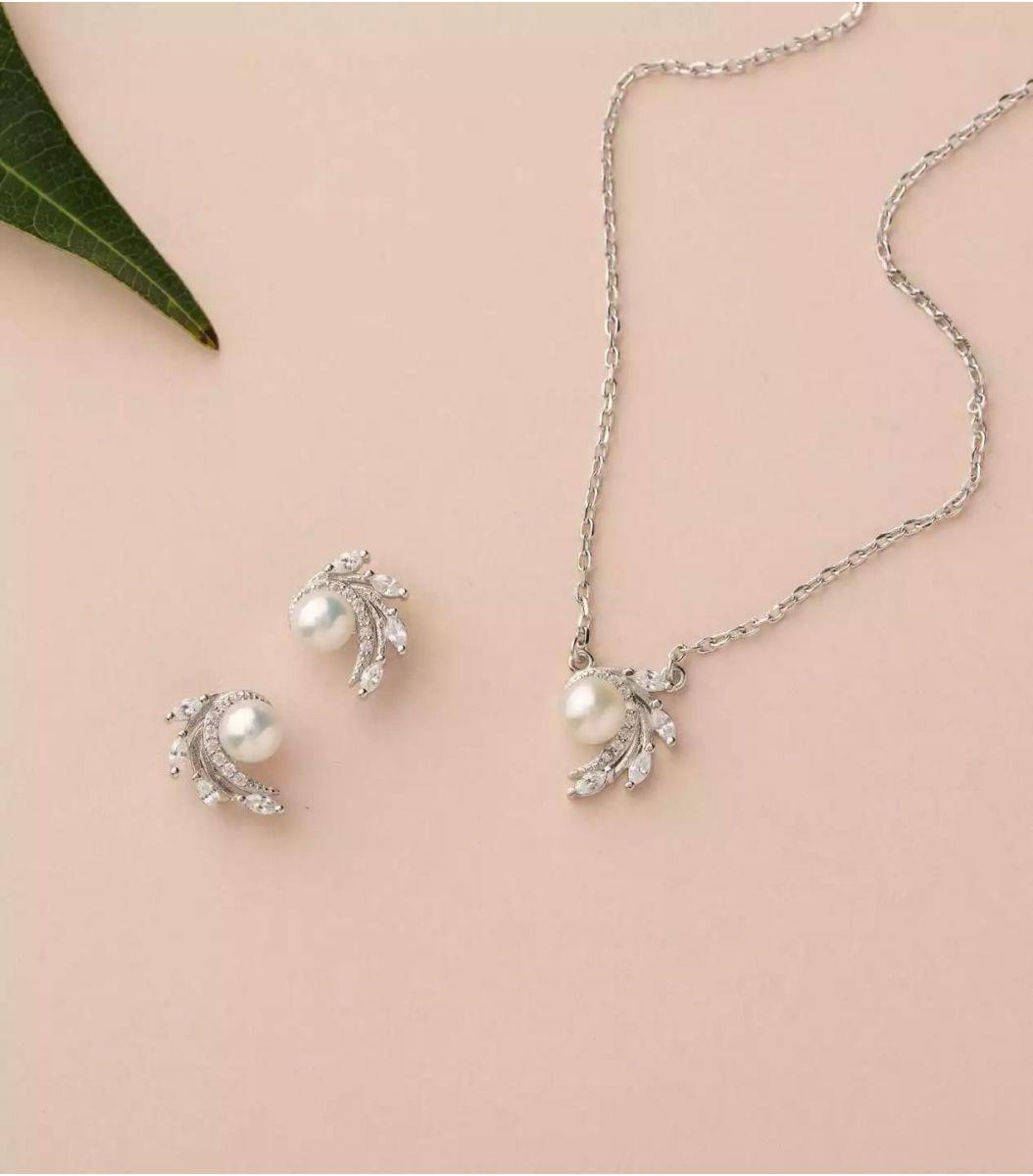 Silver Pearl Pendant Set (Rose Polish) FJ1800823